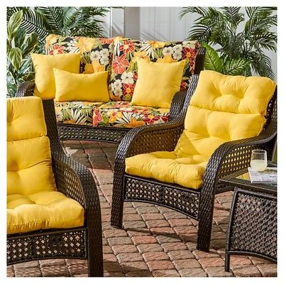Solid Outdoor High Back Chair Cushion, Sunbeam Patio Furniture
