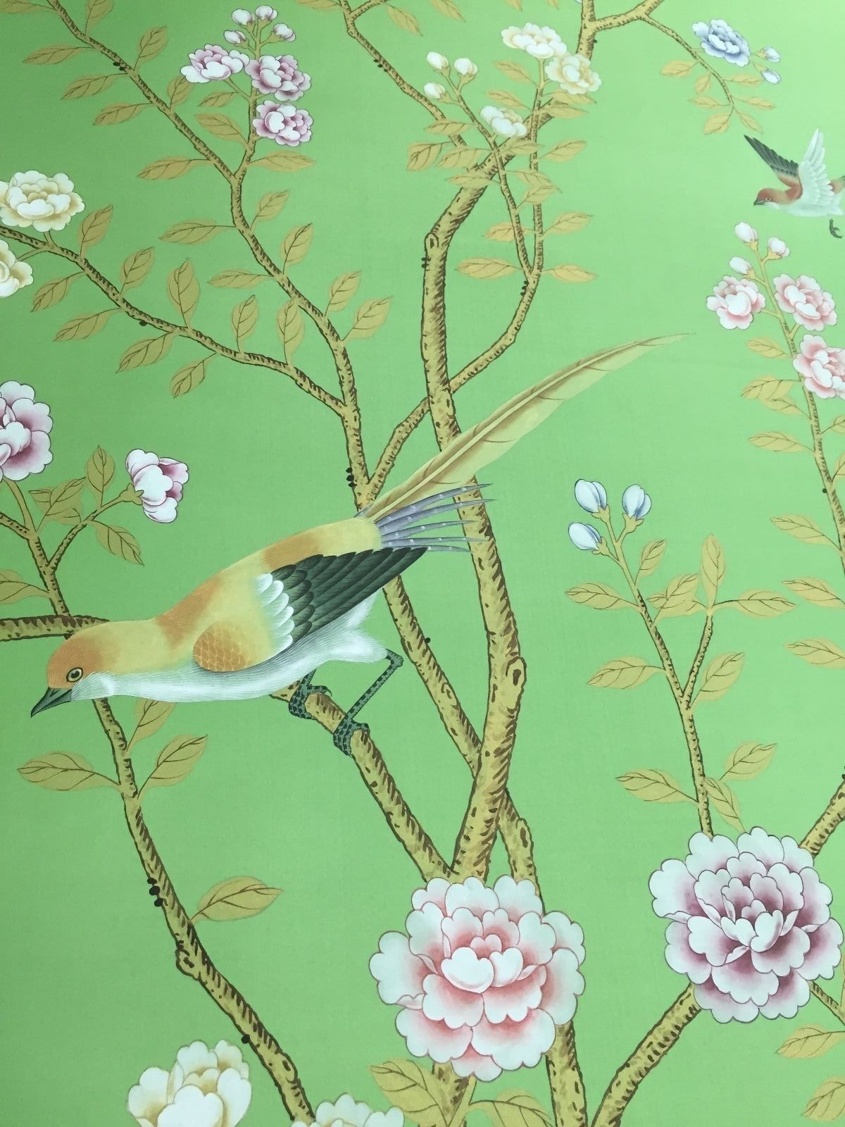 Hand Painted Wallpaper Details Of Design Earlham Chinoiserie Birds And Flowers On Green Wallpa In 2021 Chinoiserie Wallpaper Hand Painted Wallpaper Handmade Wallpaper