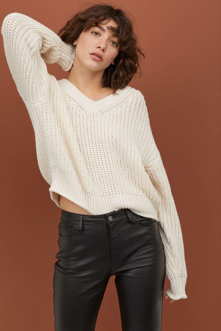 Wollen trui met V hals Gebroken wit DAMES | H&M NL