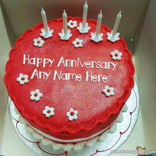 5th anniversary cake images with name editor