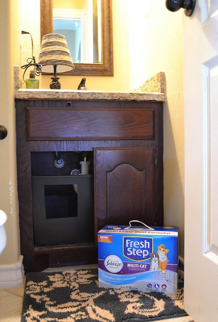 Diy Under Sink Litter Box Diy Litter Box Hiding Cat Litter Box