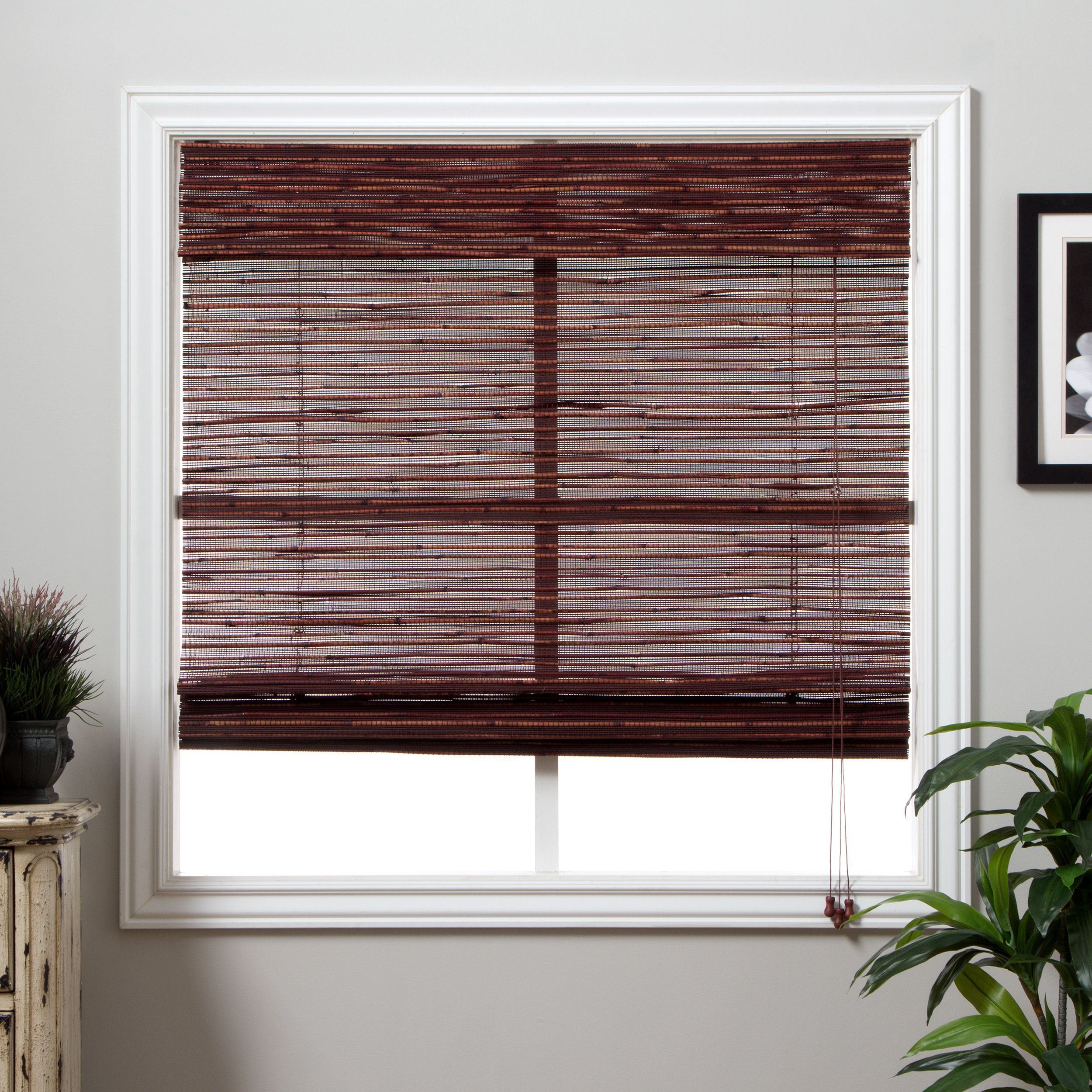 Arlo blinds rangoon bamboo inch long roman shade x brown