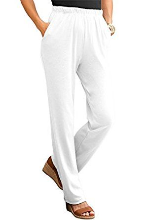 3c0a9ba5b8d Roamans Women s Plus Size Soft Knit Straight Leg Pants White
