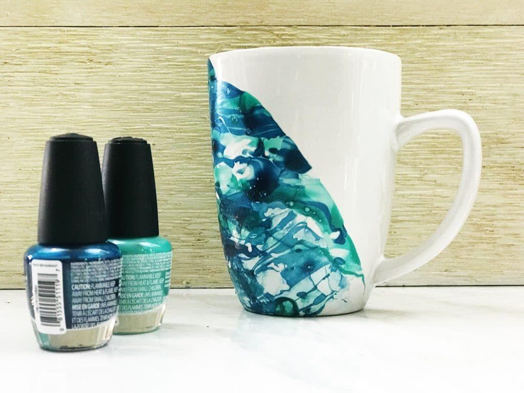 Two Shades Of Blue Diy Nail Polish Marble Mug Wildflowersandwanderlust Com Diy Crafts Nailpolish Marble Nail Polish Diy Nail Polish Nail Polish Marbling