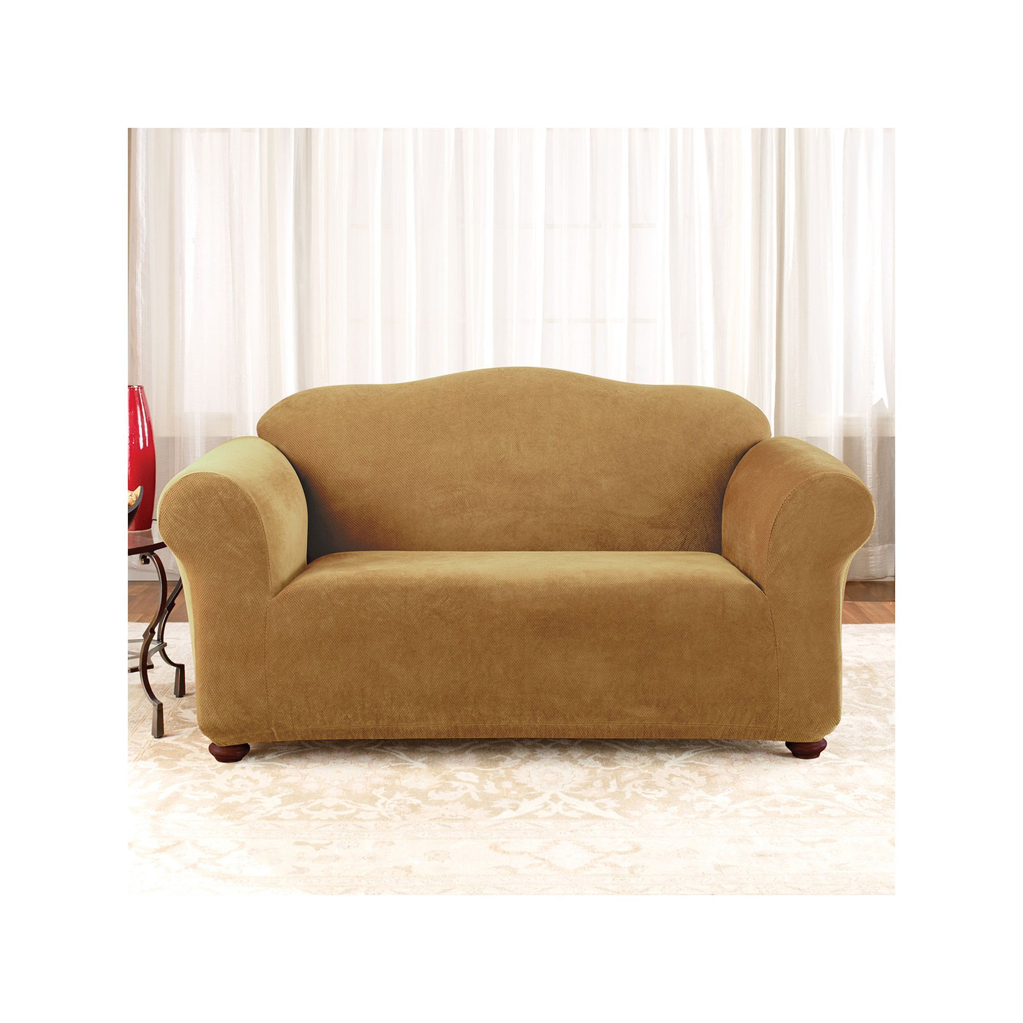 sure fit stretch pique loveseat slipcover yellow