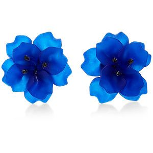 Matthew&Melka *M'O Exclusive* Fleur de Lis Earrings in Dark Blue