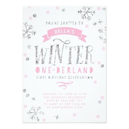 silver and pink winter onederland first birthday card birthday