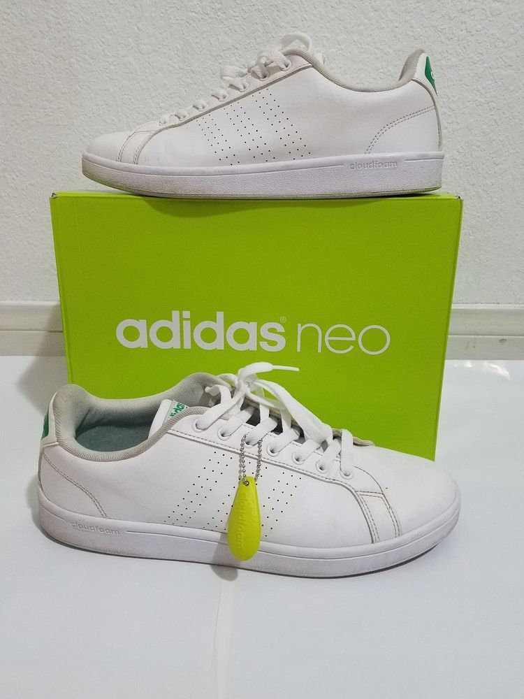 Mens Adidas Neo Cloudfoam Advantage Clean White Leather Green ...