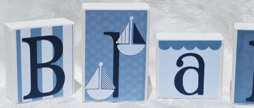Nautical Baby Block Letters . Blue and White . Blake. $7.00, via Etsy.