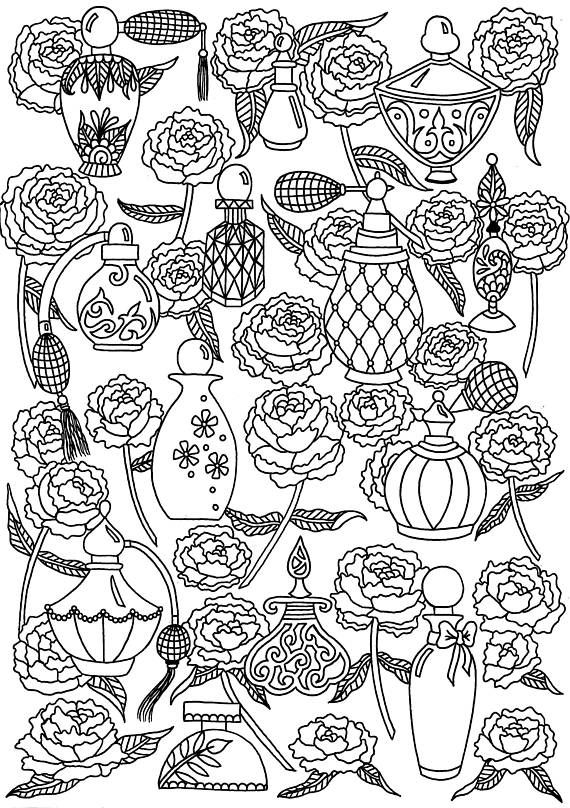 perfume and peonies digital download coloring page henna by hilary