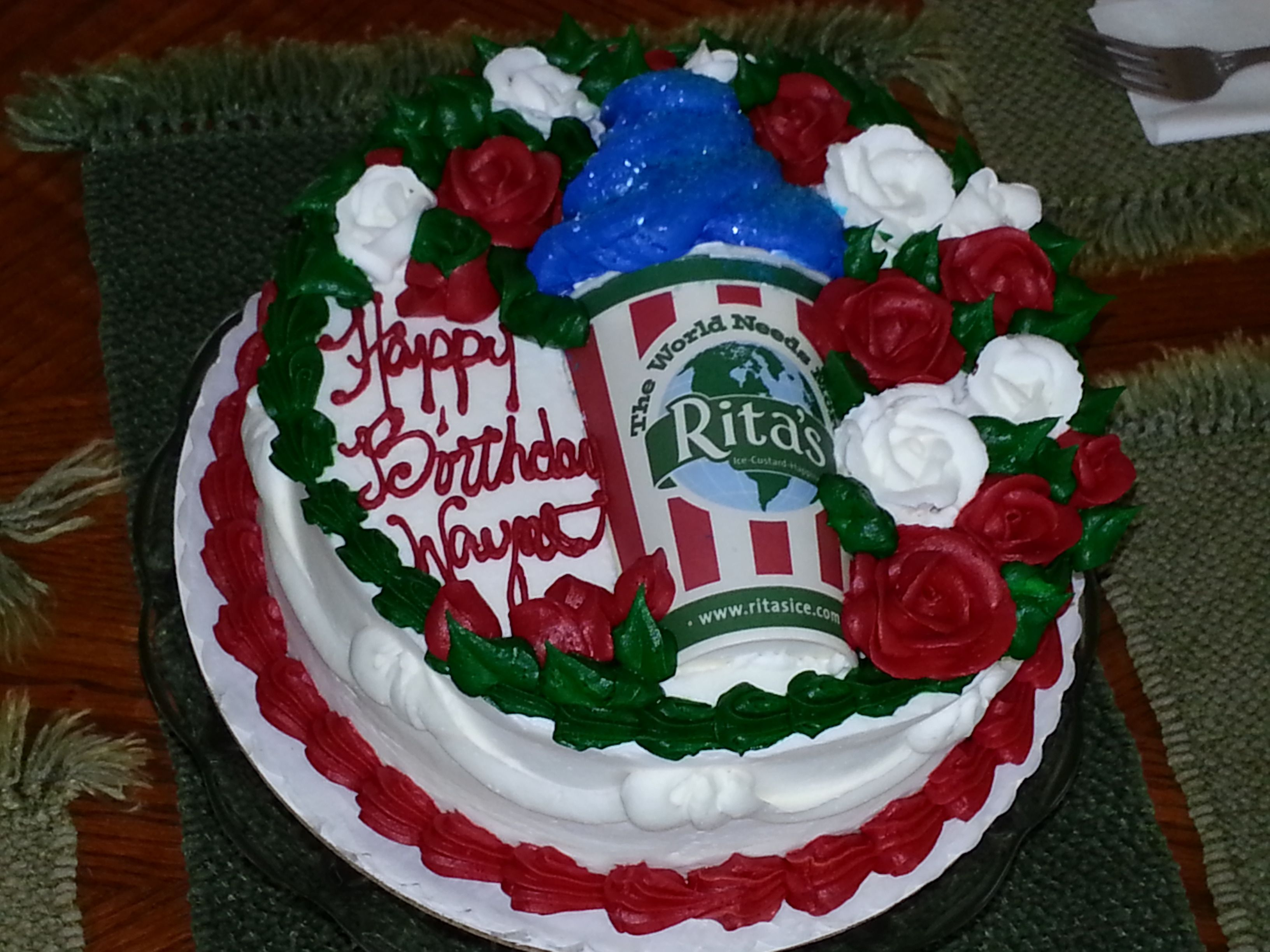 Fabulous Ritas Italian Ice Birthday Cake For Hubby Baked At Local Bakery Funny Birthday Cards Online Barepcheapnameinfo