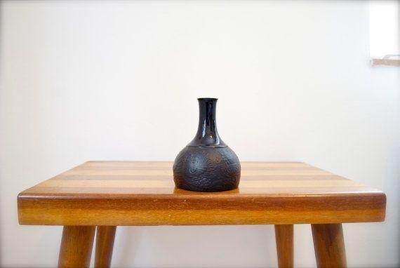 Vintage Black Vase Bjørn Wiinblad Mid by GlitteryMoonVintage