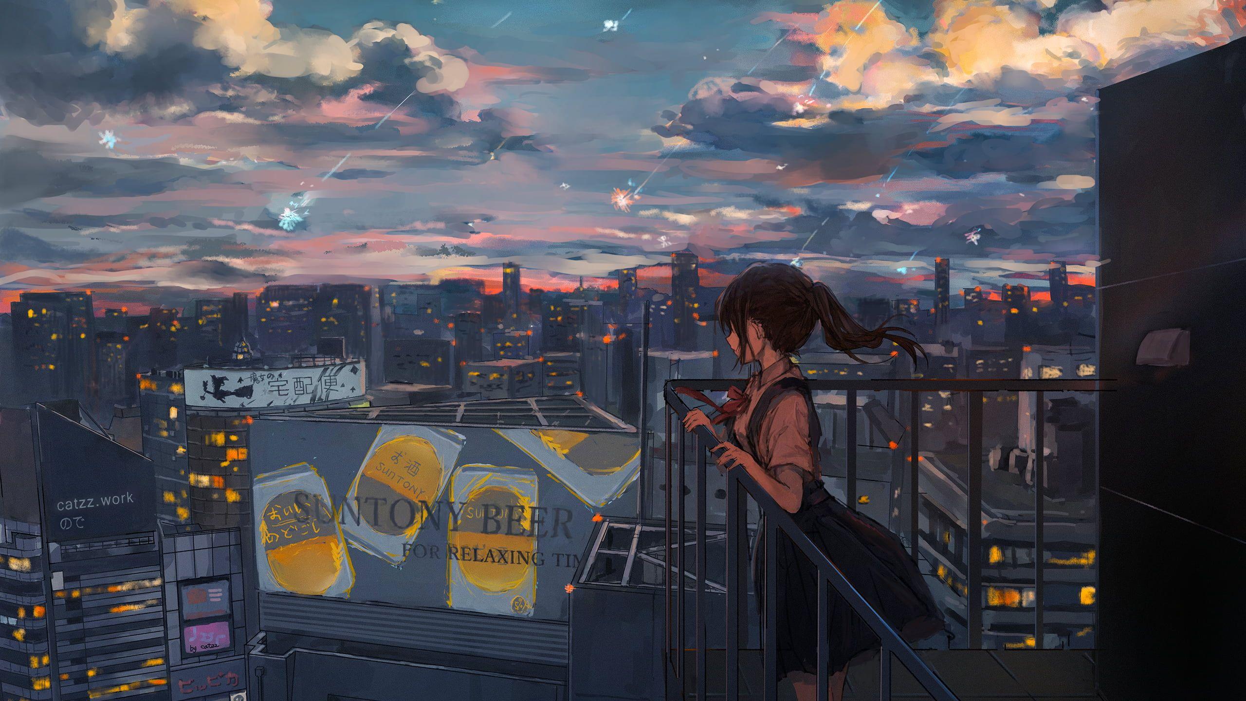 Woman Holding Railing Drawing Anime Anime Girls 2k Wallpaper Hdwallpaper Desktop Lukisan Seni Gambar Latar Belakang