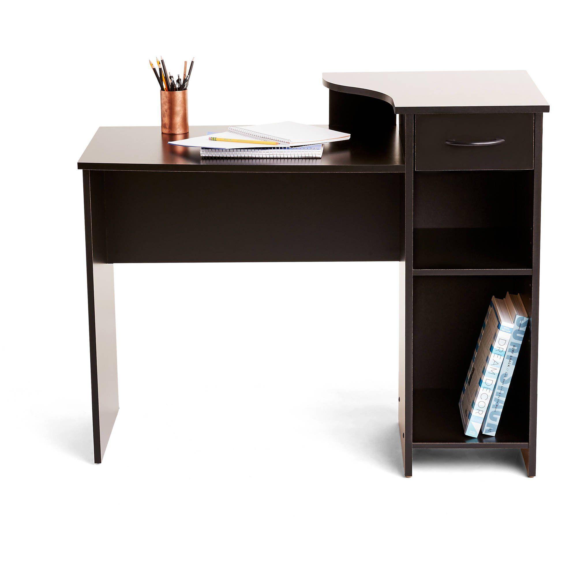 Mainstays Student Desk With Easy Glide Drawer Blackwood Finish Walmart Com In 2020 Desk Desk With Drawers Easy Glide Drawers