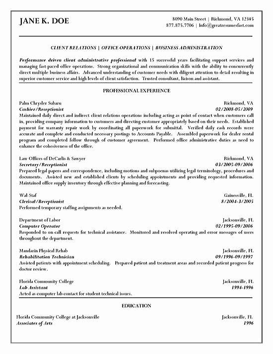 cashier resume sample for employment professional related samples - resume examples for receptionist jobs