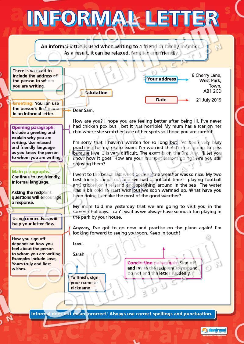 Informal Letter English Literacy Educational School
