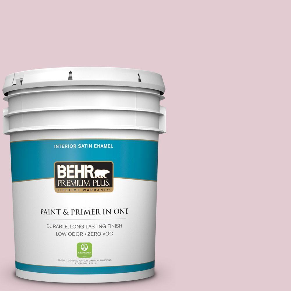 BEHR Premium Plus 5-gal. #100C-2 Cool Pink Zero VOC Satin Enamel Interior Paint
