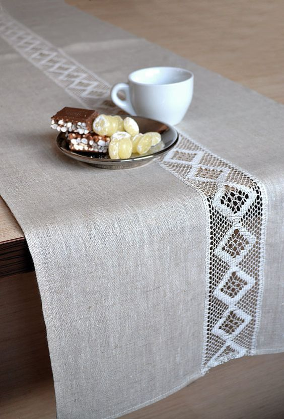 Linen table Runner wedding party table decor runner Rustic Runner Lace Table Decor Natural Linen Runner Cottage Table Runner Event runner #rustichomedecor