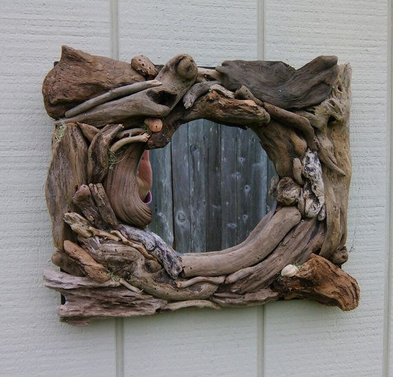 Driftwood Wall Hanging reserved for joan. rectangle mirror driftwood wall hanging beach