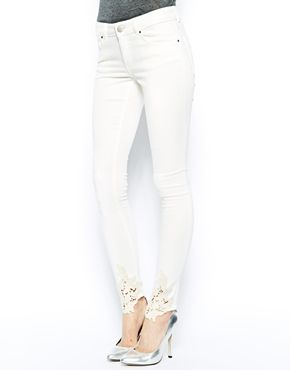 f587064cfe54 ASOS Whitby Low Rise Skinny Jeans in Cream with Crochet Hem