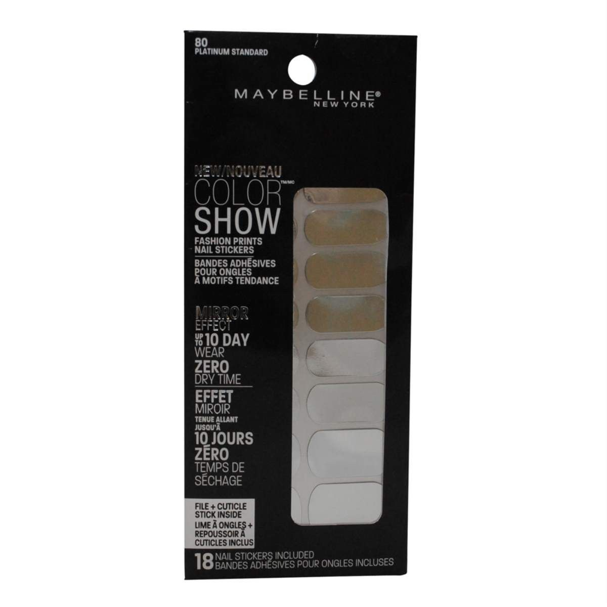 Maybelline Color Show Fashion Prints Nail Stickers #80 Platinum ...