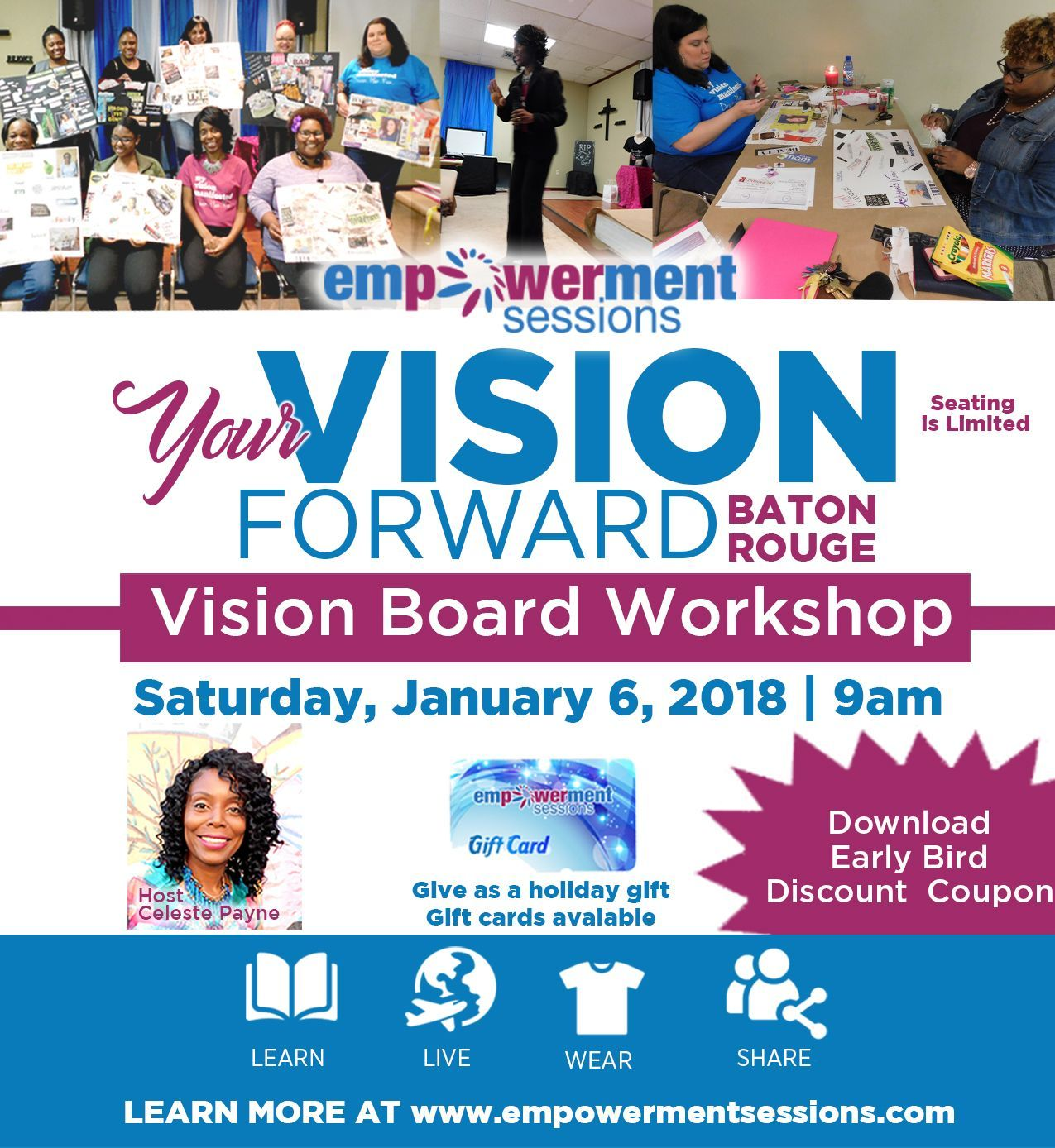 Vision Board Workshop January 6 2018 Inbox Your Name And Email Address And We Will Email Discount Code Vision Board Workshop Vision Board Workshop