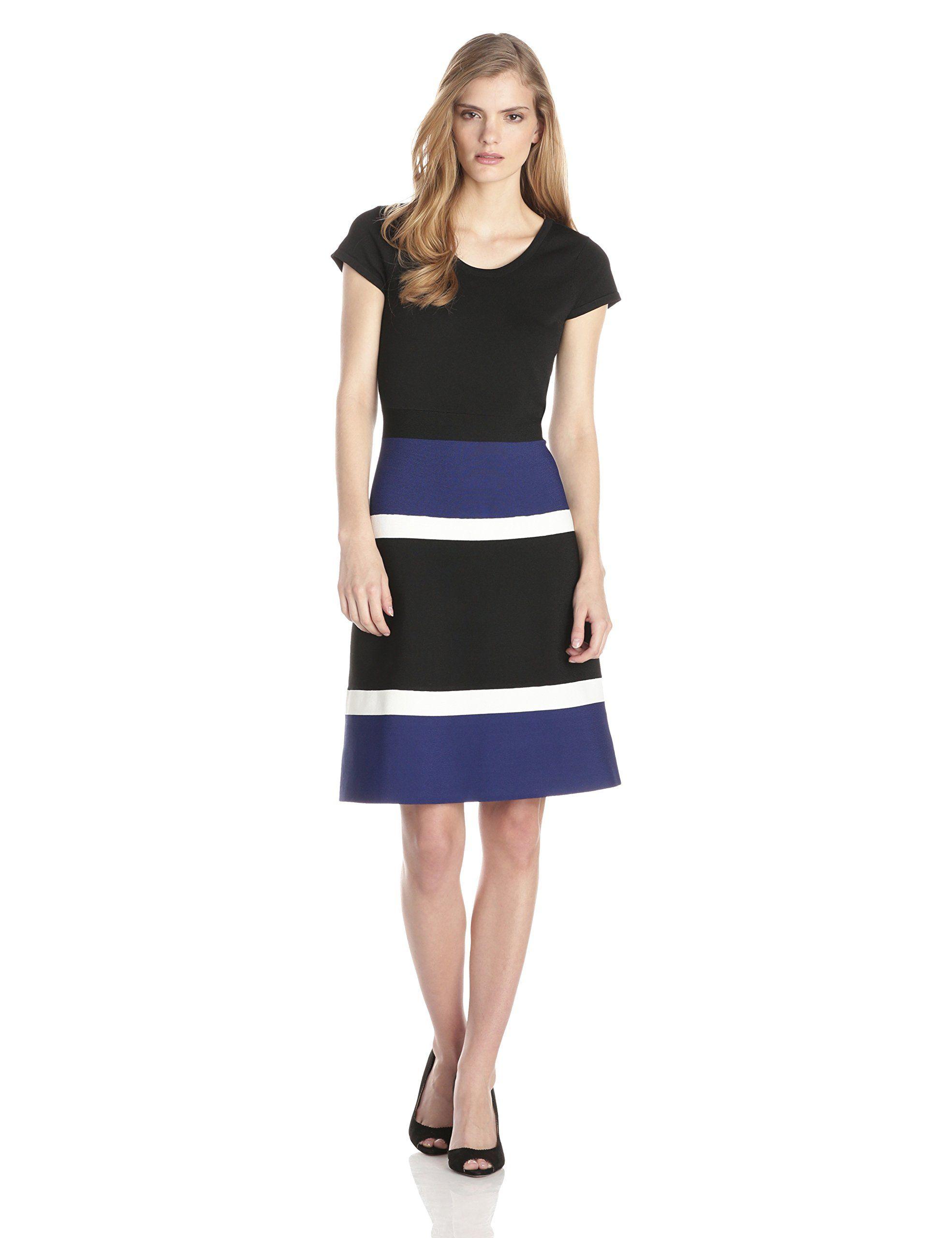 e4d58e16528 Anne Klein Women's Cap Sleeve Colorblocked Dress, Black/Ultramarine/White,  Medium at Amazon Women's Clothing store: