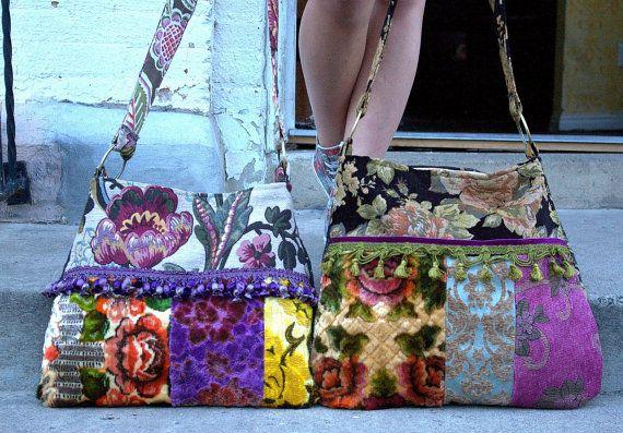 Large crossbody boho carpet bag and clutch