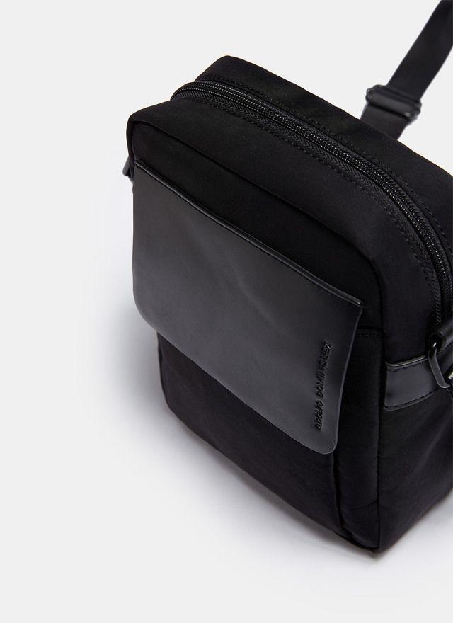 mirada detallada 7a8eb 9e334 Bandolera de nylon con bolsillo de tapa Negro | AD Man ...