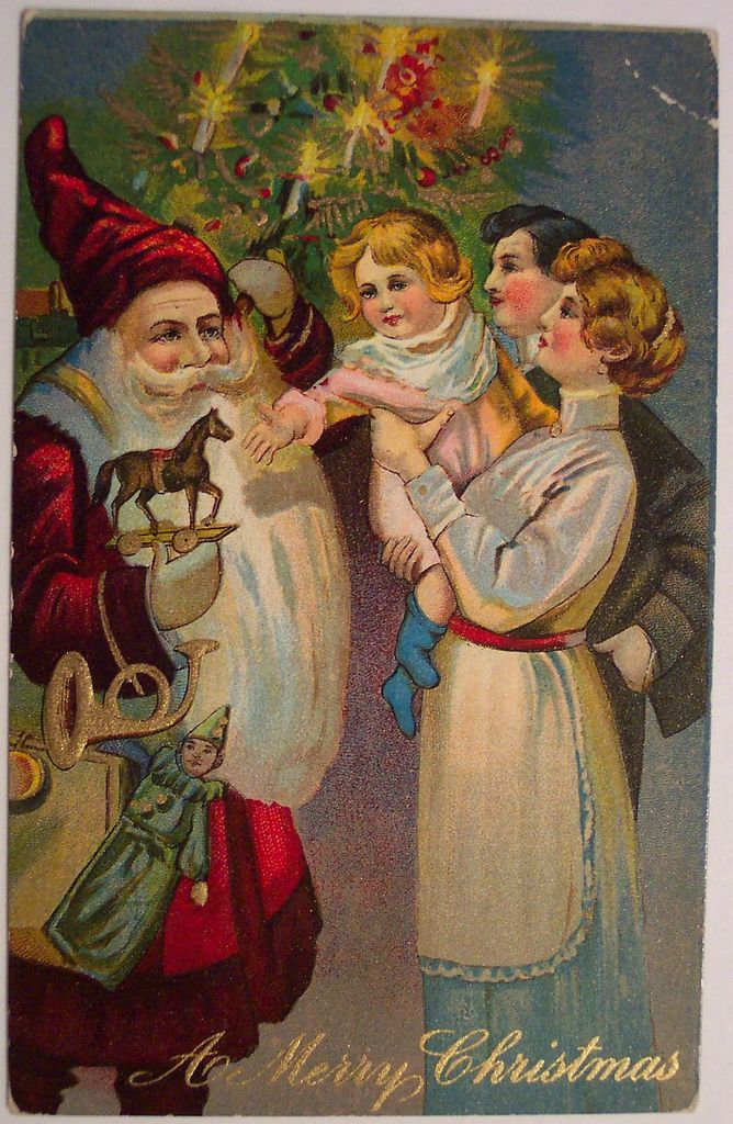 Unique Handmade Creation Antique Recycled Postcard Edwardian Christmas Card