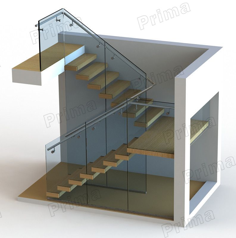Best Customized Frameless Glass Modern U Staircase Buy Modern 400 x 300