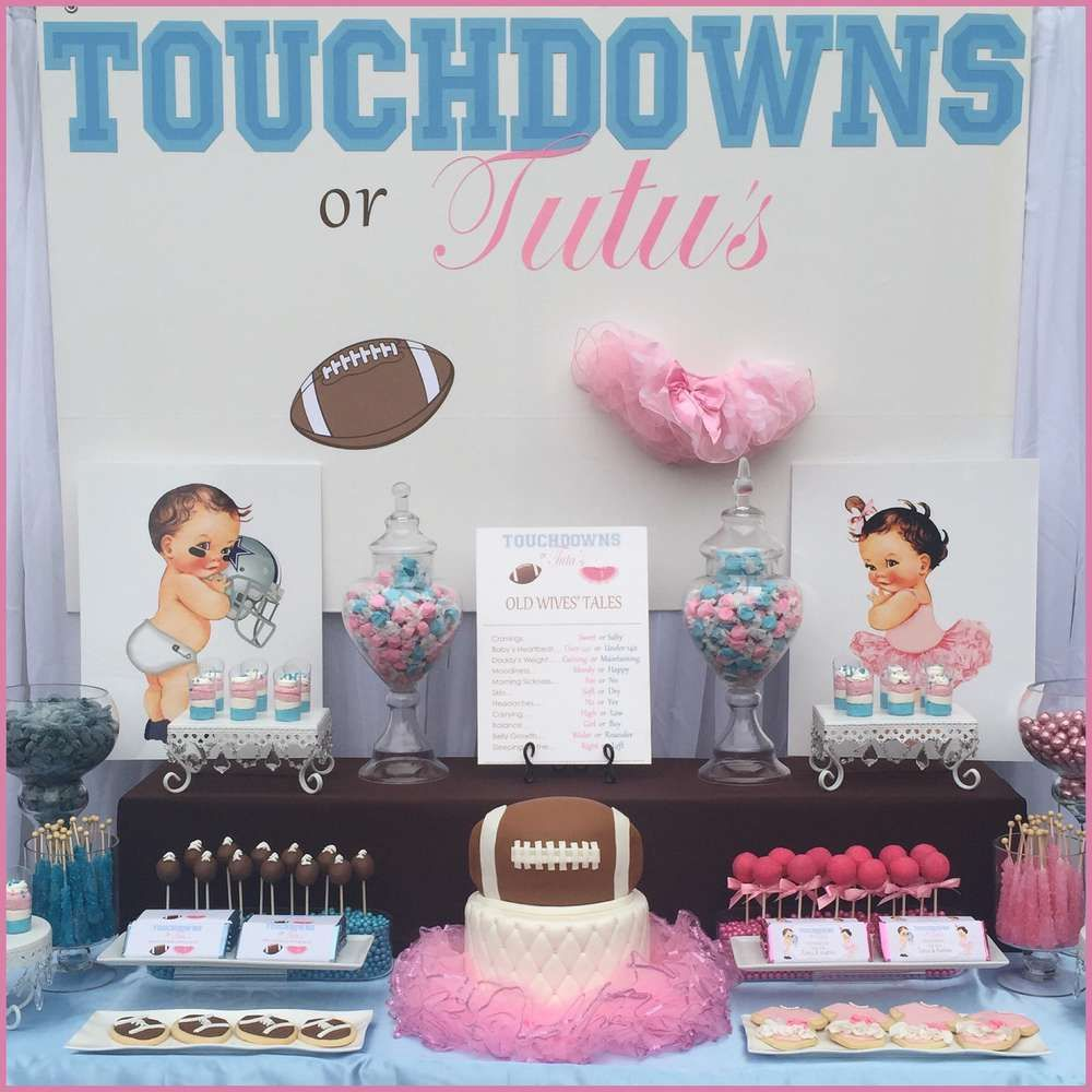 Touchdowns Or Tutu S Gender Reveal Party Ideas Photo 1 Of 9 Gender Reveal Party Decorations Tutus Gender Reveal Gender Reveal Shower