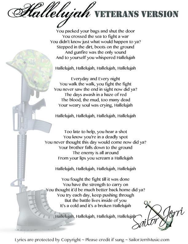 hallelujah lyrics written by veteran 4th of july