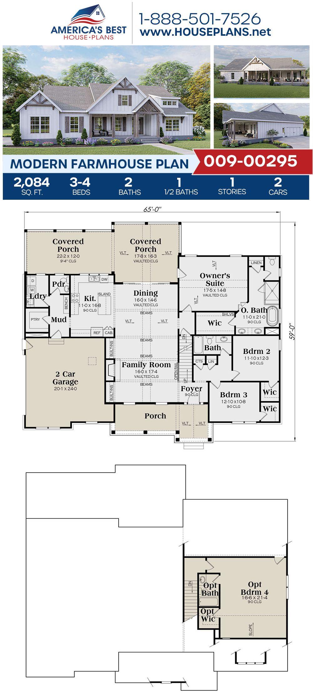House Plan 009 00295 Modern Farmhouse Plan 2 084 Square Feet 3 4 Bedrooms 2 5 Bathrooms Modern Farmhouse Plans Farmhouse Plans Architectural Design House Plans