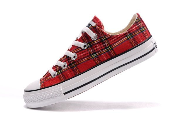 dbe568e1c59b Red Plaid Converse All Star Scotland Low Tops Canvas Shoes