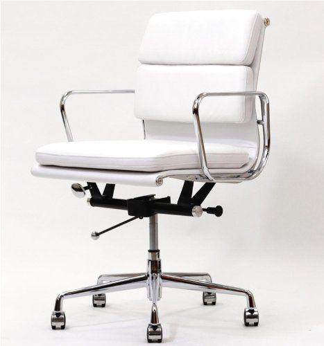 office chair genuine leather white. Showtime Mid-Back Soft Pad Modern Office Chair: This Classic 1960\u0027s Design Is Constructed Chair Genuine Leather White P