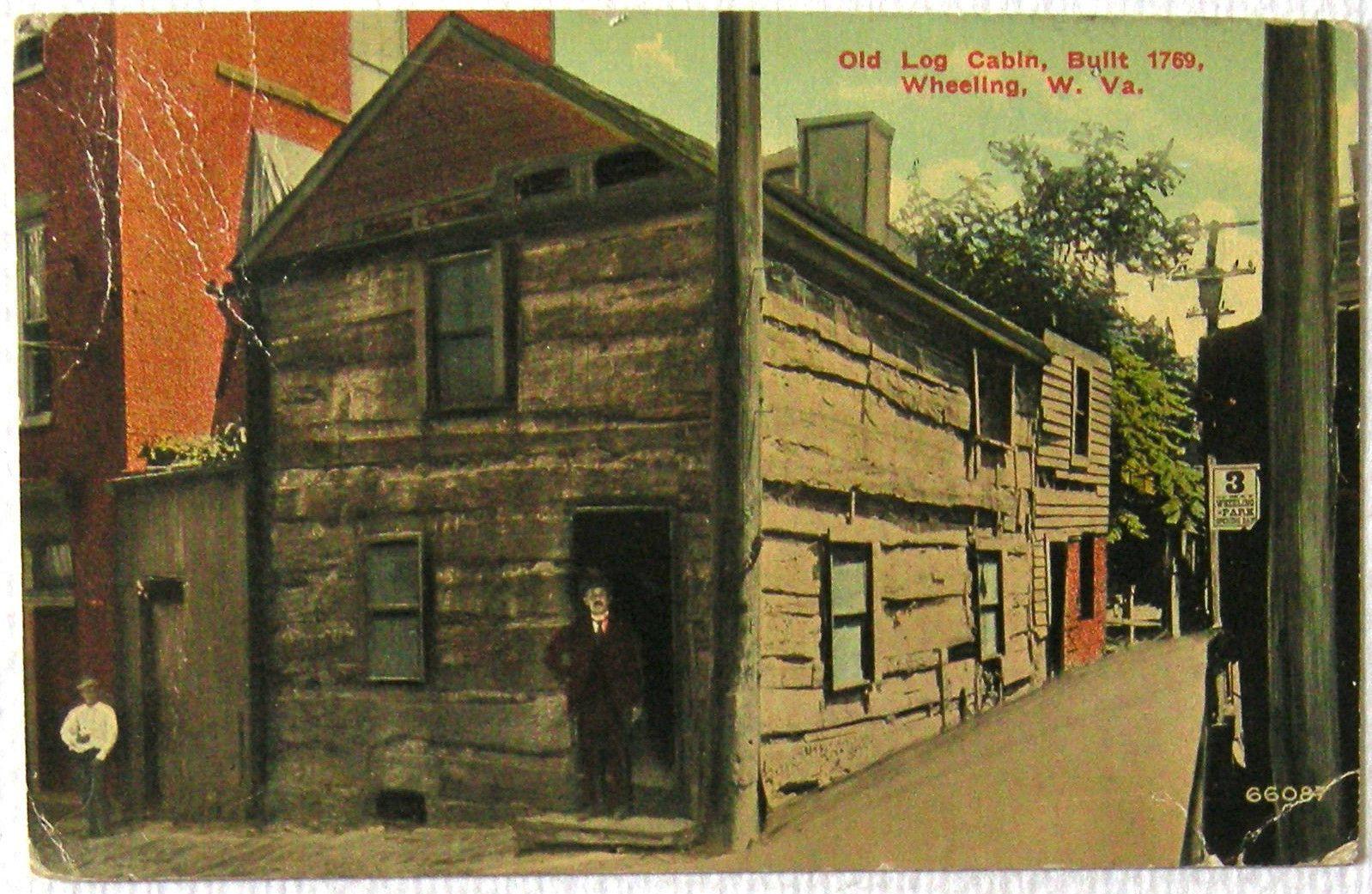 Postcard Old Log Cabin Built 1769 Wheeling WV West Virginia 1912 | EBay