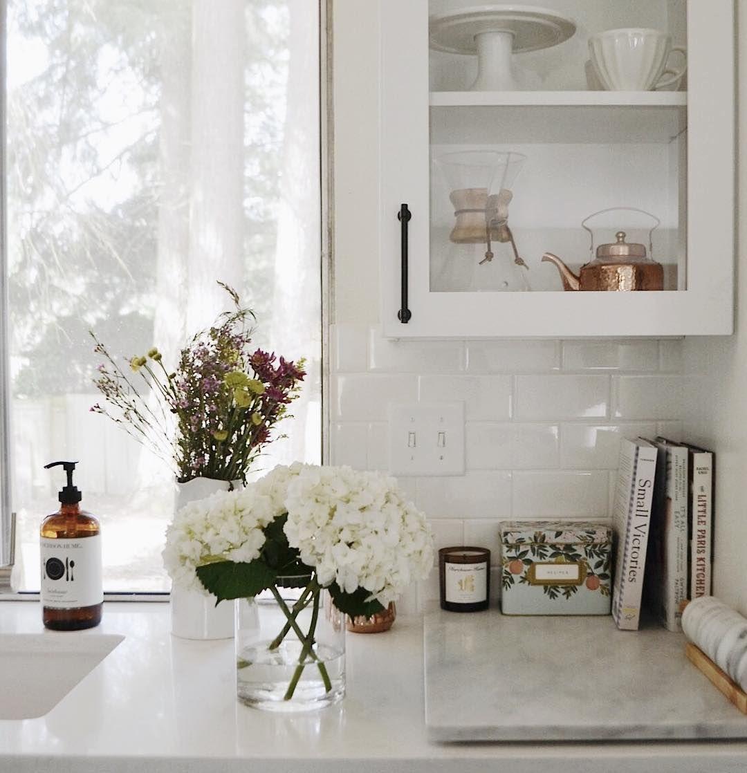 White kitchen cabinets black hardware - Open Cabinet Black Hardware Marble White Subway Tile Backsplash Rifle Paper Co