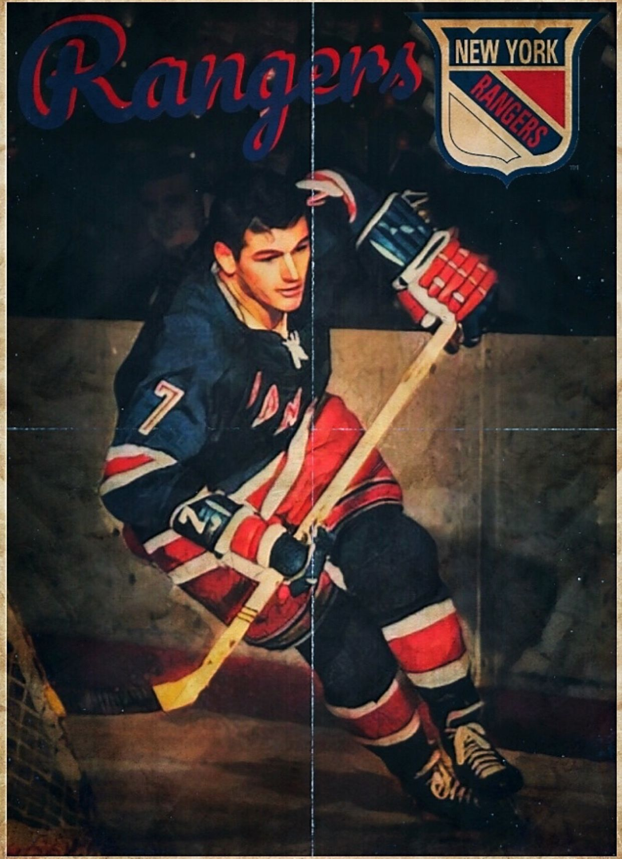 6e817000863 Vintage New York Rangers Hockey Poster