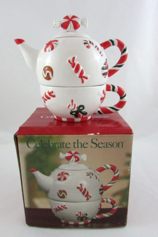 Celebrate the Season Christmas candy tea for one stacking teaset (teapot and cup) w/ candy cane handle, peppermint swirl knob, decorated w/ Christmas candies, ceramic