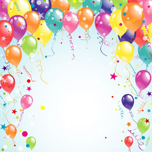 Birthday background with realistic balloons Vector Free Download
