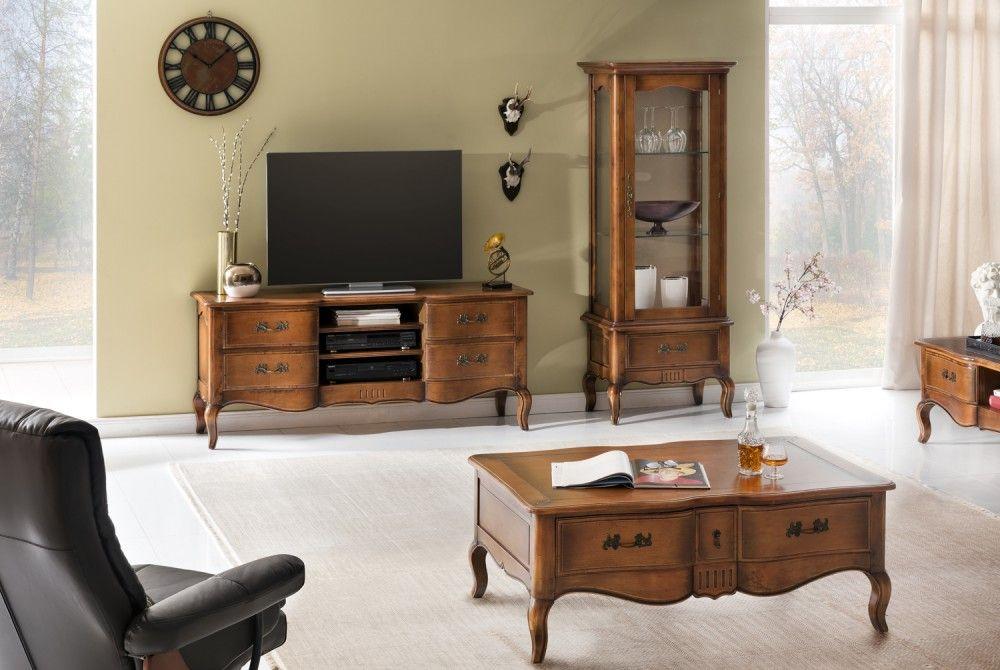 wohnwand vintage 3 teilig birke massiv antik look braun lackiert vintage m bel. Black Bedroom Furniture Sets. Home Design Ideas