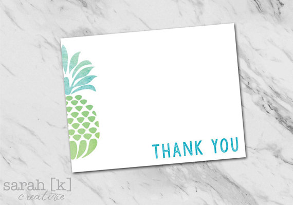 Tropical Pineapple Thank You Note Destination Wedding Watercolor Hawaiian