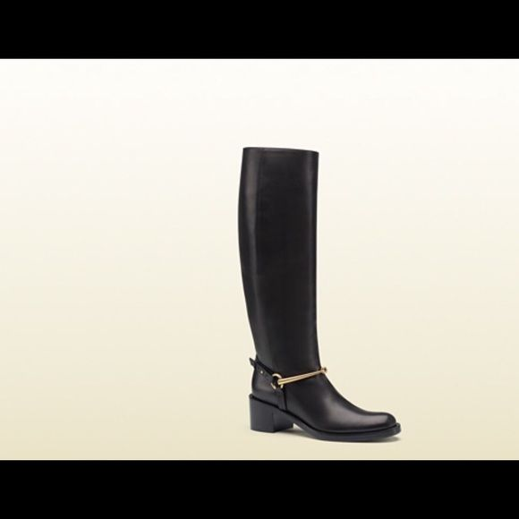 8d4f8a0c7f5 Nwt Gucci boots Black leather Made in Italy horsebit detail with buckle  pull on metal gucci