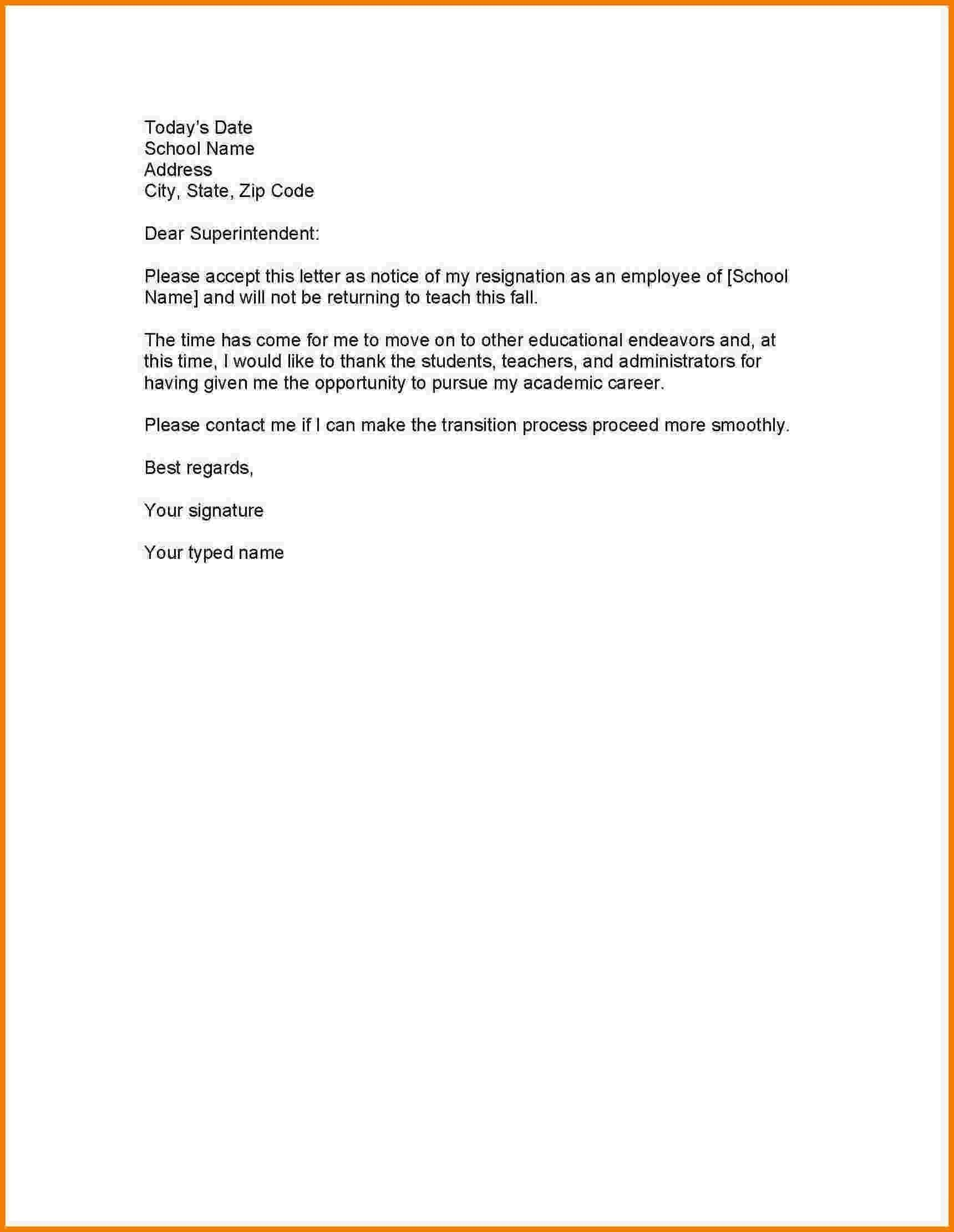 Format Letter Of Resignation As Employee New Resignation Letter