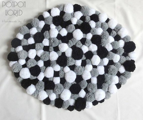 pom pom rug fluffy carpet white grey black by pompomworldcom projects to try pinterest. Black Bedroom Furniture Sets. Home Design Ideas