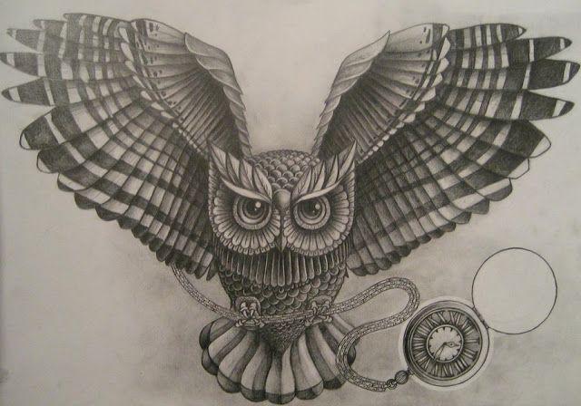 Ideas Para Tu Tattoo Buho Y Reloj Buho Dibujo Brujulas Dibujo