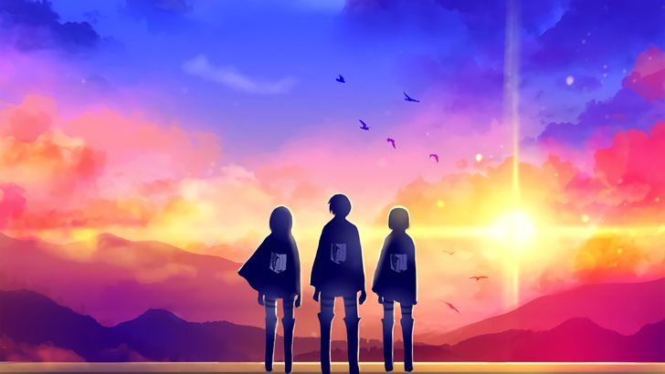 Eren Armin And Mikasa Survey Corps Sunset Attack On Titan Wallpaper Fond D Ecran Dessin Japon Illustration Fond D Ecran Pc