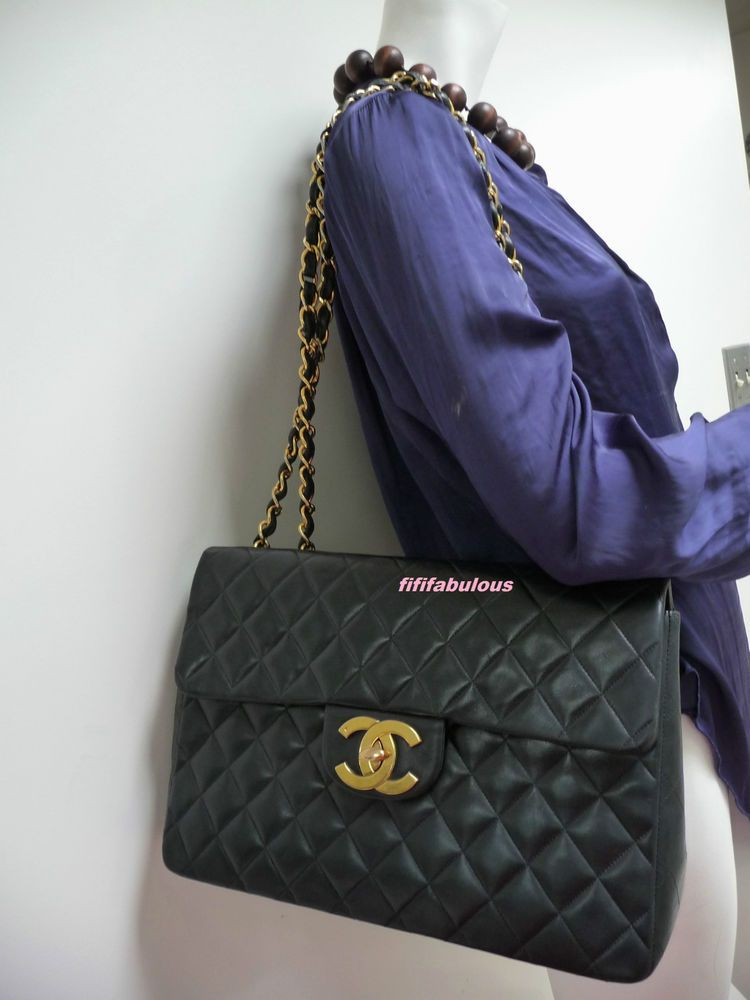 df9e79b81be8 Chanel Maxi XL Black Lambskin Leather Large CC Classic Flap Bag Gold HW  Vintage
