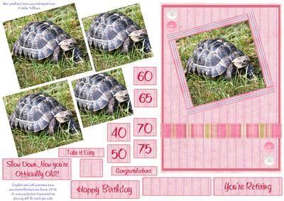Tortoise Retirement Age related Birthday pyramid on Craftsuprint - Add To Basket!